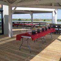 Vin d'honneur sur terrasse vue sur lac